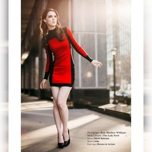 Balmain H&M Black and Red Dress
